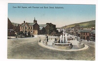 Postcard. Corn Mill Square, with Fountain and Bank St Galashiels.