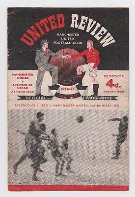 Orig.PRG  European Cup 1956/57  MANCHESTER UNITED - ATLETICO BILBAO  1/4 FINAL !