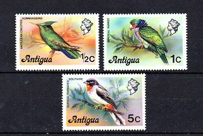 set of 3 mint bird themed stamps from antigua