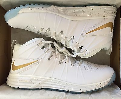 Nike Huarache 4 Lax Turf Men's Lacrosse Shoes Size 9 White Gold NEW