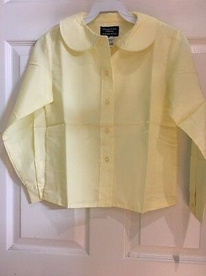 School Uniform Blouse Size 8 Girls Round Collar Long Sleeves 6 Button Front NWT