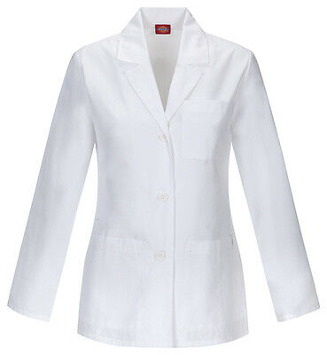 "Dickies 28"" Antimicrobial Lab Coat 84401AB WHWZ White Free Shipping"
