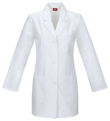 """Dickies 32"""" Fluid Barrier Lab Coat 84400AB WHWZ White Free Shipping"""