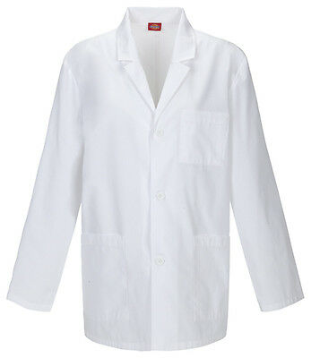 "Dickies 31"" Men's Lab Coat Fluid Barrier 81404AB WHWZ White Free Shipping"