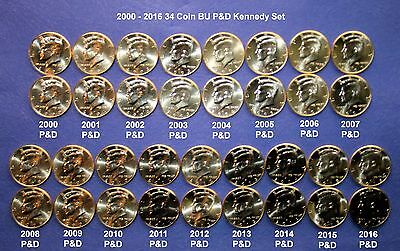 2000 - 2016 Kennedy Half 34 Coin Uncirculated P&D Set from US Mint Rolls/Bags