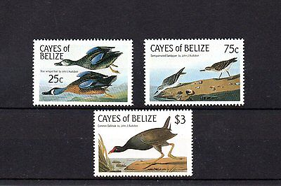 set of 3 mint bird themed stamps from belize
