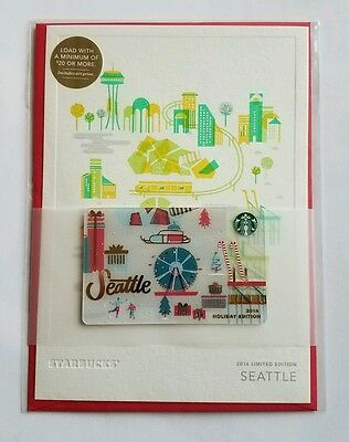 Starbucks Seattle city holiday gift card 2016 Christmas with greeting card