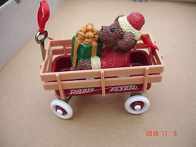 RED Radio-Flyer Bear  in Wagon Christmas Ornament
