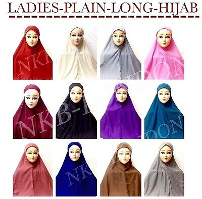 Muslim Ladies Readymade Hijab Headscarf Scarf Plain Colours Big Size Free Post
