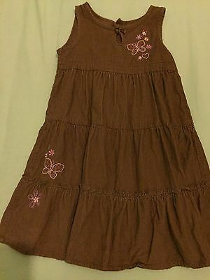 Girls Clothes brown cord dress butterfly motifs age 3-4 years
