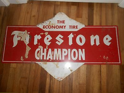 Vintage Tin 2-Sided FIRESTONE CHAMPION TIRES Advertising Gas Station Sign RARE