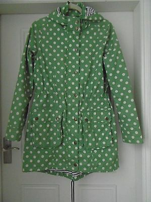 Gorgeous BODEN green spotty Parka coat with hood striped lining 10