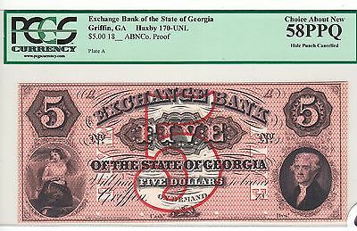 Exchange Bank of Georgia $5 Proof-1800s Griffin, GA   *CHOICE ABOUT NEW 58PPQ*