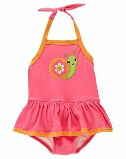 Nwt Gymboree Growing Flowers Snail Swimsuit Pink Size 3T