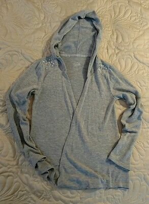 Justice For Girls Hooded Open Long Sleeve Cardigan Sweater Gray Size 10 EUC!