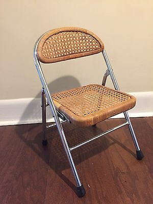 Vintage Mid Century Childs cane chair with chrome frame