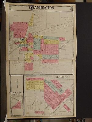 Illinois Tazewell County Map, 1910, Washington, Hopedale, Crandall 2 Pages P5#06
