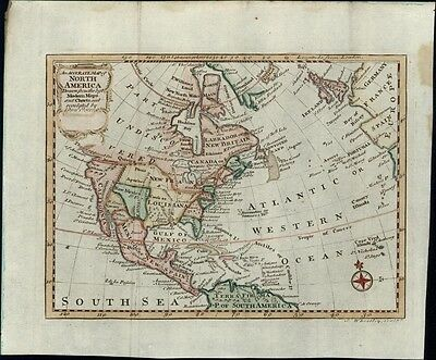 North America c.1760 rare Dublin Wheatley antique hand color map
