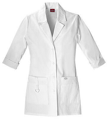 "Dickies 30"" Lab Coat 82402 DWHZ White Free Shipping"