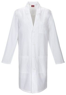 """Dickies 40"""" Fluid Barrier Unisex Lab Coat 83403AB WHWZ White Free Shipping"""