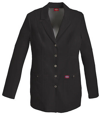 "Dickies 28"" Snap Front Lab Coat 82400 BLKZ Black Free Shipping"