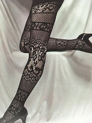 Nu&Nu Fishnet Lace Tights Pantyhose Stockings Queen Size 1X / 2X Black NEW
