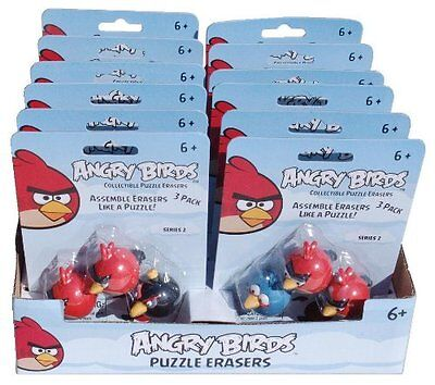 Angry Birds Puzzle Erasers Toy Figure Box Set - 36 Erasers - 1 Lot