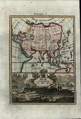 Asia China Persia Arabia Australia Japan w/cartouche c.1719 charming antique map
