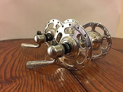 Vintage Campagnolo Record 28 Hole High Flange Hub Pair *Mirror Polished*