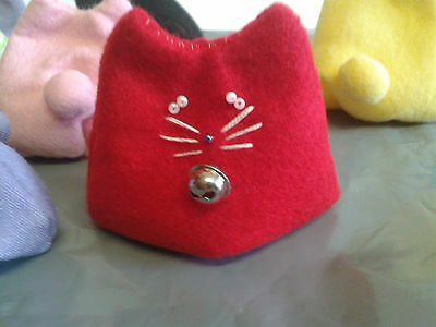 Handmade Red Felt Bean Bag Cat (Otedama)