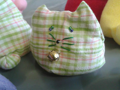Handmade Check Cotton Bean Bag Cat (Otedama)