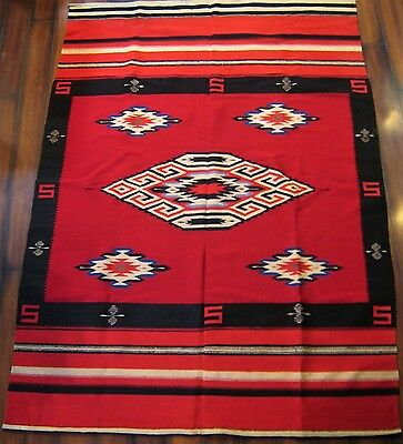 "Large Antique Wool Hand Woven Chimayo New Mexico Rug 75""x54"" Made From 2Pieces"