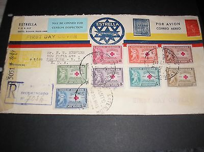 Ecuador 1945 red cross stamps on censored first day air cover superb franking