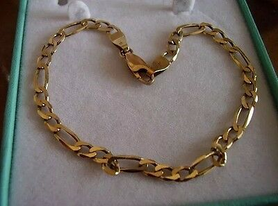 "Stunning 9ct gold Figaro style 7.5"" link bracelet weight 3.4g"