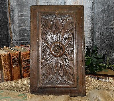 Antique French Carved Wood Cabinet Panel Acanthus Medallion