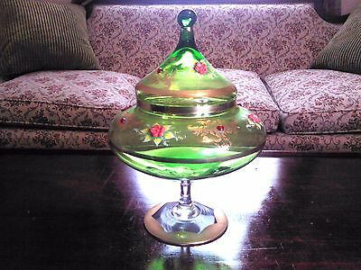 Antique Bohemian Glass Covered Compote-Green-Gilt-Ruby Dots-Excellent Condition
