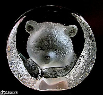Mats Jonasson Lead Crystal Glass Bear Sculpture Paperweight 3332 Signed