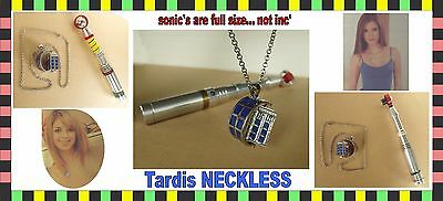 doctor who tardis police box neckless pendant + chain key chain (sonic not inc')