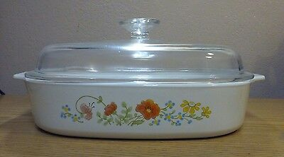 Vintage Corning Ware Wildflower A-10-B Casserole with Glass Lid