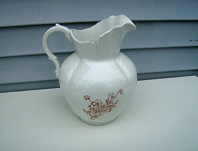 Large Antique Transferware Wash Water Pitcher Ewer Jug w/Brown Floral Design