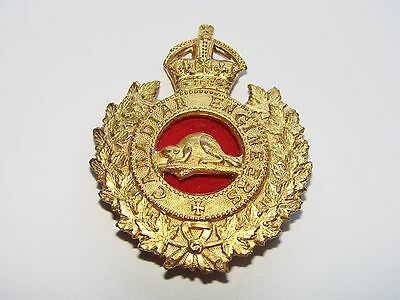 Canada WW1 CEF Cap Badge OFFICER's Corps of Royal Canadian Engineers, Gilt Caron