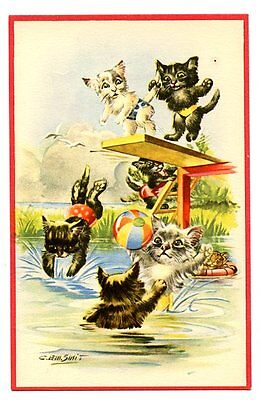 vintage cat postcard dressed cats bathing suits dive into & play in pond