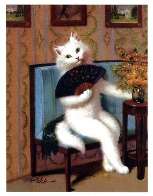 modern cat postcard Sperlich exotic lady white cat w fan poses on couch