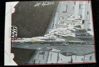 Topps Star Wars Rogue One Series 1 Star Destroyer Sketch Card by Scott Houseman