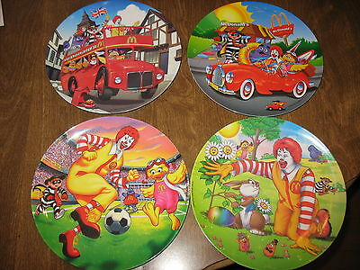 "Lot of 4 McDonalds Plates 1998 2000 2001 2002 9 1/2"" Plastic Collector's Plate"