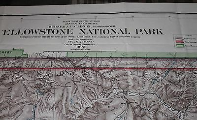 1907 Map Yellowstone National Park, General Land Office, GLO, colored darker