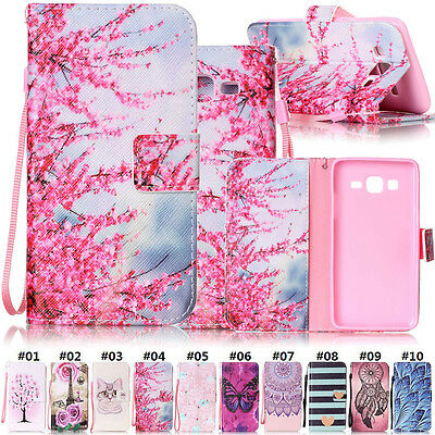 For Samsung Galaxy On5 Painted Stand PU Leather Magnetic Case Protective Cover