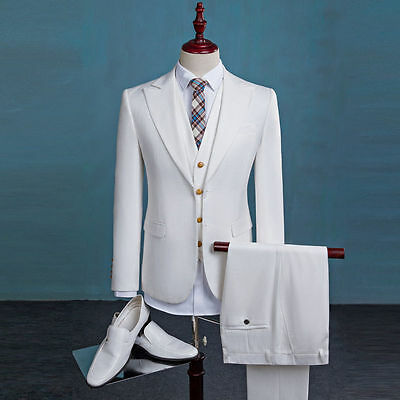 Slim Fit White Best Man Groomsman Men's Wedding/Prom 3 Piece Suits Groom Tuxedos