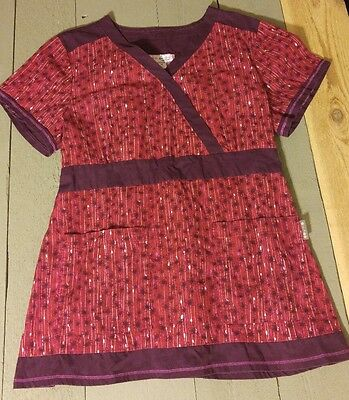KOI By Kathy Petereson Scrub Top Size XL Womens Floral Red Purple