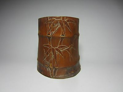 Old Carved Chinese Asian Bamboo Tree Brush Pencil Wash Pot Holder